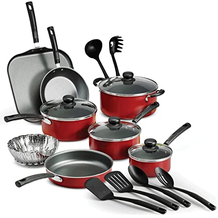LEGENDARY-YES 18 Piece Nonstick Pots & Pans Cookware Set Kitchen Kitchenware Cooking NEW (RED)
