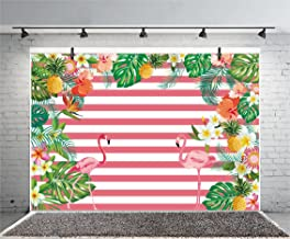 Leyiyi Summer Flamingos Leaves 6x4ft Photography Background Birthday Party Cake Smash Baby Shower Pink White Stripe Flowers Tea Party Banquet Pineapple Lily Photo Portrait Studio Props