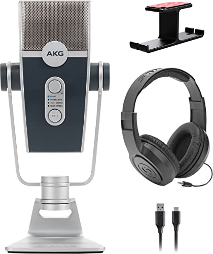 high quality AKG Pro Audio Lyra Ultra-HD, Four Capsule, Multi-Capture Mode, USB-C new arrival Condenser sale Microphone for Recording and Streaming Bundle with Samson SR350 Headphones, and Blucoil Aluminum Headphone Hook outlet online sale