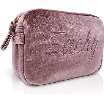 EACHY 化粧ポーチ 大容量 コスメポーチメイクポーチベロアレディース MAKE-UP POUCH 全2色 (ピンク)