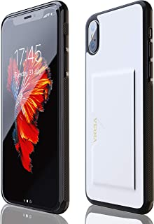 iPhone X Case   iPhone Xs Case   Slim PU Leather Case   Card Holder Slot   Wireless Charging   Compatible with Apple iPhone X/iPhone Xs - White