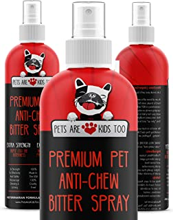 Anti Chew Dog Training Spray: No Chew Bitter Spray and Pet Deterrent for Dogs and Cats - Behavior Correction to Stop Chewing and Licking - Safe for Furniture, Paws and Bandages - 8 Oz
