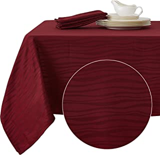 Deconovo Decorative Jacquard Tablecloth Vibrant Waves Oblong Wrinkle Resistant and Waterproof Tablecloths for Kitchen 54 X 108 Inch Burgundy