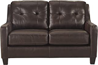 Ashley Furniture Signature Design - O'Kean Contemporary Leather Upholstered Tufted Back Loveseat - Mahogany