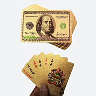 TRINKA 24k Gold Foil Playing Poker Double Sided Color Printed Waterproof Plastic Playing Cards Table Games Good Gift Idea
