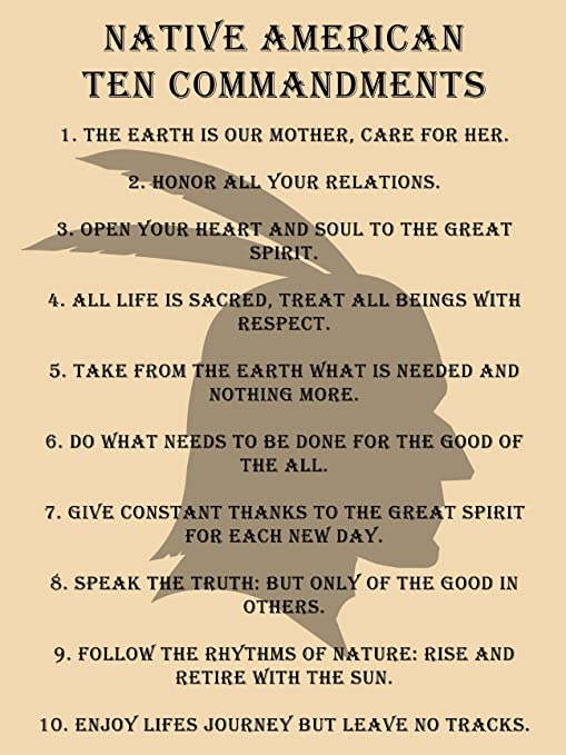 THE 10 INDIAN COMMANDMENTS vintage photo poster INSPIRATIONAL historic 24X36