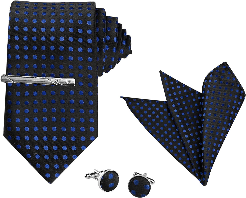 Allegra K Tie Set for Men Polka Dots Necktie Pocket Square Cuff Links Tie Clips for Wedding Business