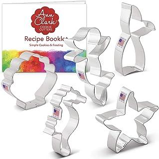 Ann Clark Cookie Cutters 5-Piece Mermaid Cookie Cutter Set with Recipe Booklet, Mermaid, Mermaid Tail, Starfish, Seahorse,...