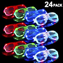 POKONBOY LED Glasses Glow in The Dark Party Supplies, 24 Pack Led Party Favors Bulk Light Up Glasses, Neon Party Supplies Party Favors (Random Color)