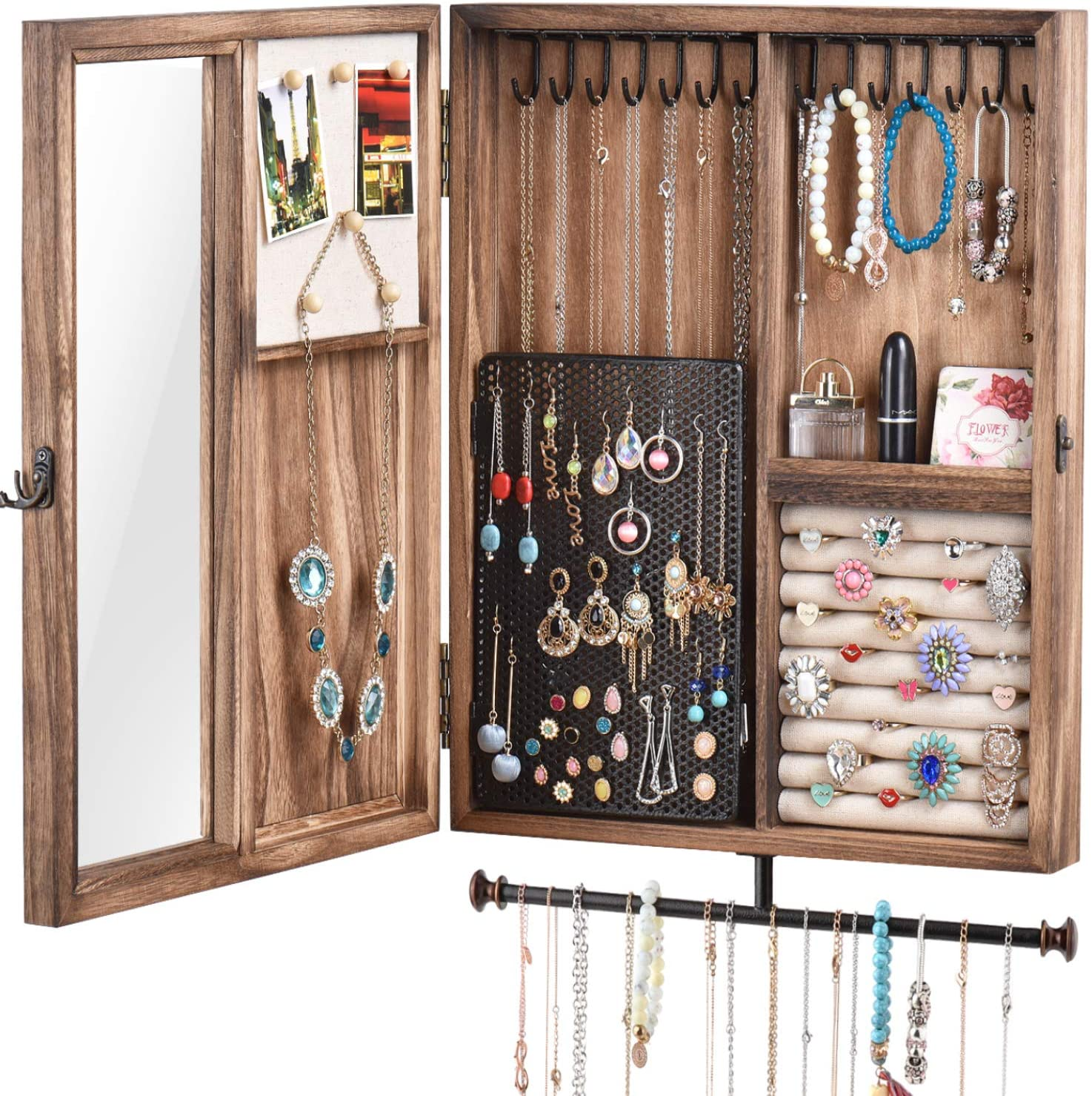 Buy Keebofly Wall Mounted Jewelry Organizer Box Rustic Wood Large ...