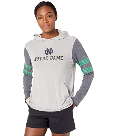 Champion College Notre Dame Fighting Irish Color Blocked Long Sleeve Hoodie (Cool Grey/Gear Navy) Women