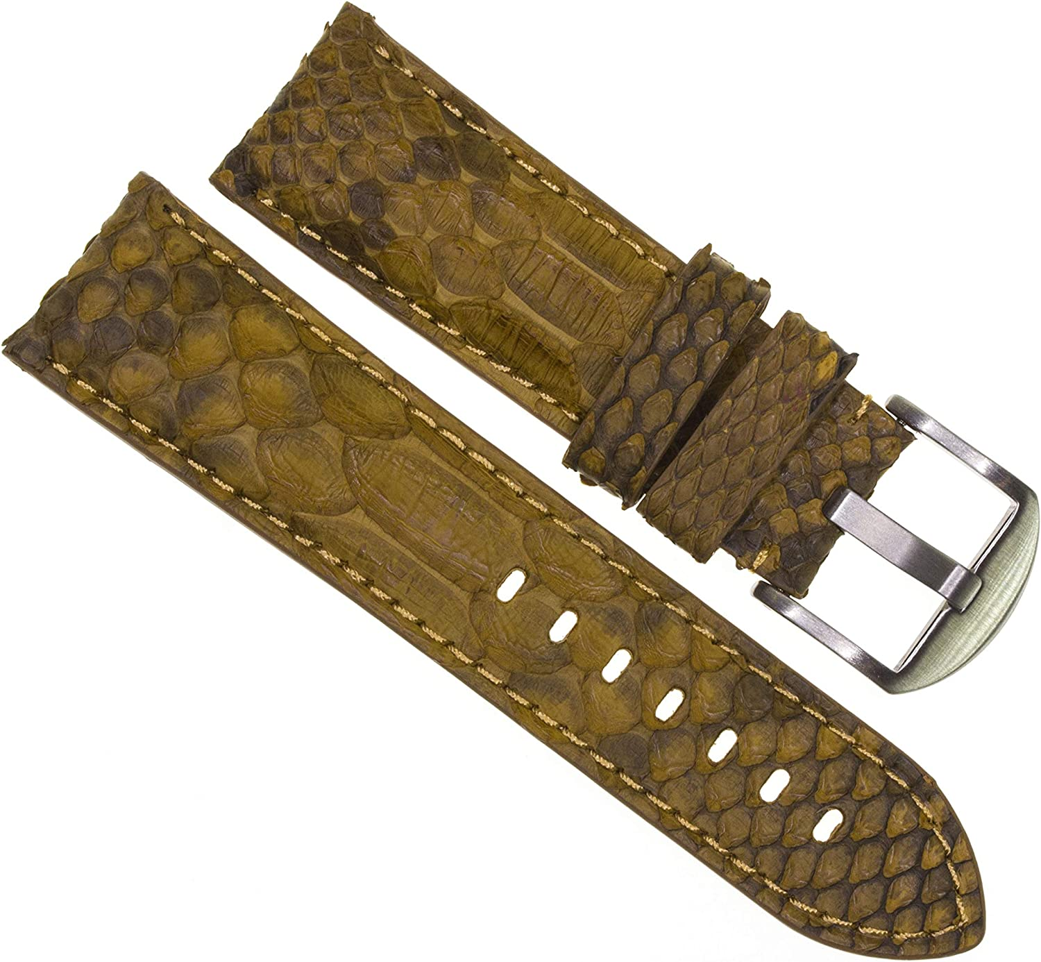 All stores are sold 20mm Genuine Python Skin Leather Strap Band Watch B Great interest Golden Brown