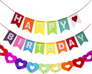 Happy Birthday Rainbow Banner With a Matching Cut Out Heart Decoration Garland Hanging Party Supplies