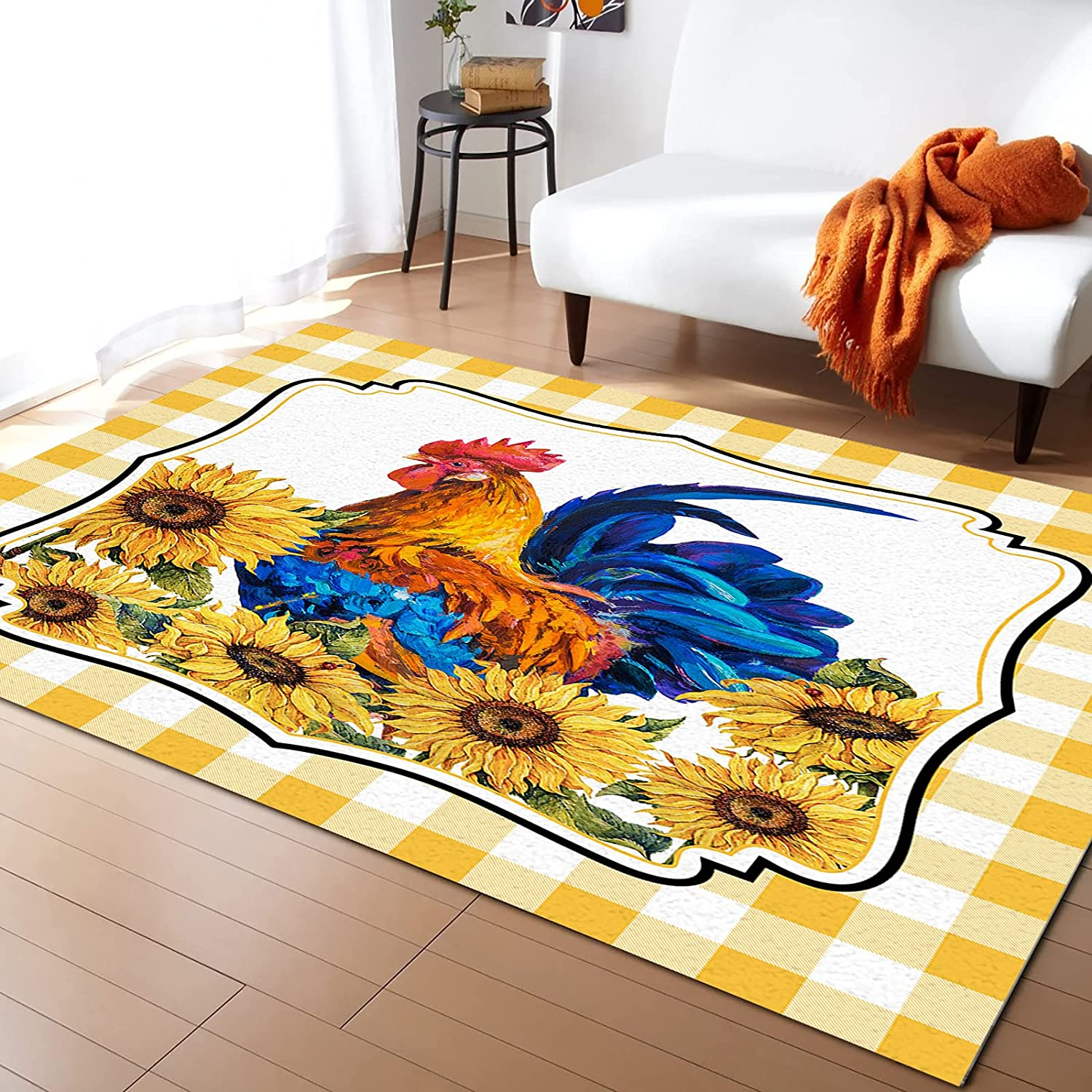 Area Rugs for Living Room Bedroom Farm Challenge the lowest price of Japan ☆ Free Shipping New with Sunflower Rooster Or