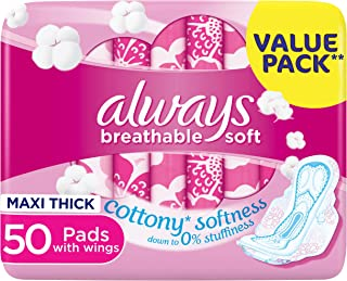 Always Breathable Soft Maxi Thick, Large sanitary pads with wings, 50 ct