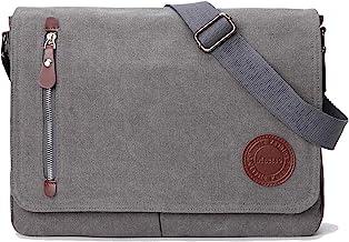"""Vintage Canvas Satchel Messenger Bag for Men Women,Travel Shoulder bag 13.5"""" Laptop Bags Bookbag (Grey)"""