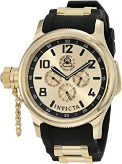 Invicta Men's 1803 Russian Diver Gold Dial Black Polyurethane Watch