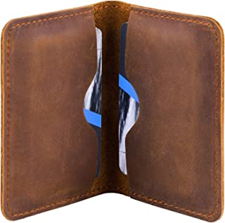 MaxGear Business Card Holder Pocket Business Card Case Bifold Business Cards Wallet for Men and Women, Crazy Horse Genuine Leather, 4.5x3 in, Light Brown