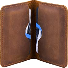 MaxGear Leather Business Card Holder Professional Pocket Business Card Case Bifold Business Cards Wallet Slim Business Card Carrier for Men and Women, Crazy Horse Genuine Leather, 4.5x3 in, Brown