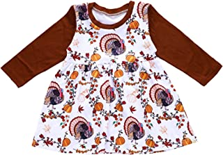 YOUNGER TREE Thanksgiving Infant Toddler Baby Girl Dress Pumpkin Turkey Print Long Sleeve Skirt Outfits