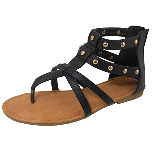 a92c6cb71 Cambridge Select Women's Open Toe Thong Gladiator Cutout Caged Strappy  Studded Flat Sandal