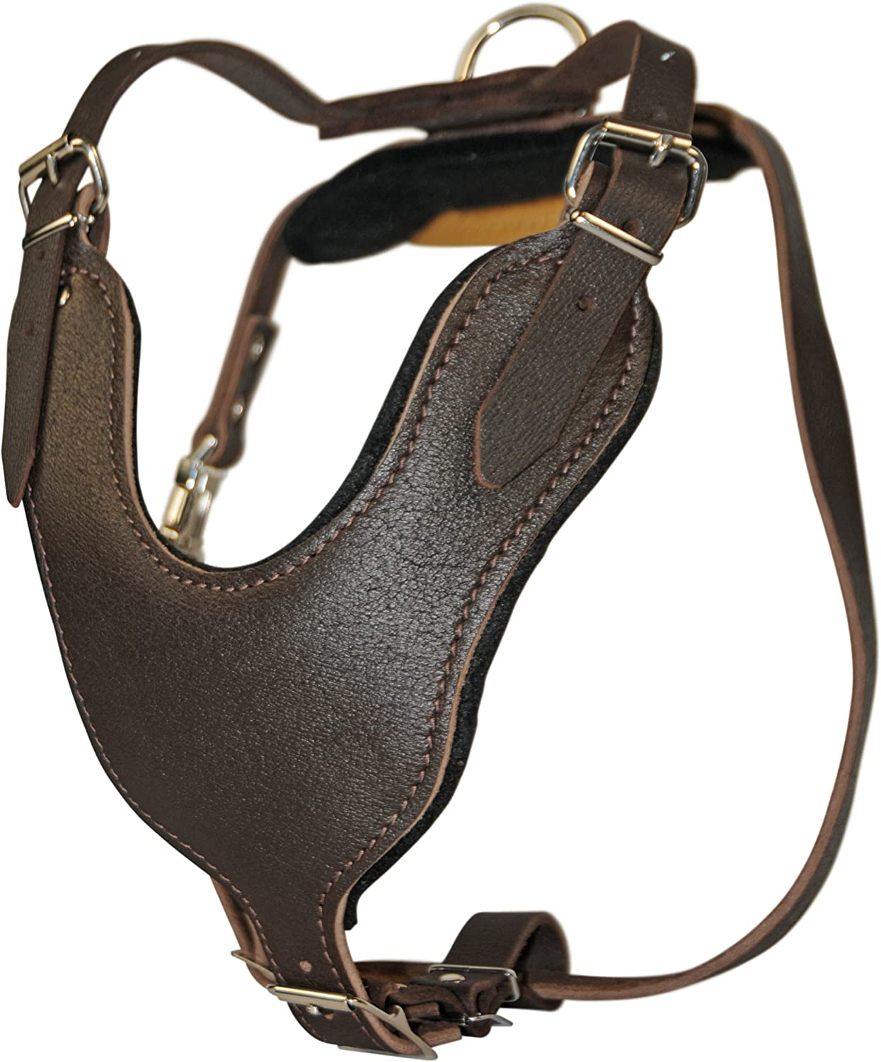 Dean and Tyler Basic Solid Nickel Hardware Leather Dog Harness, Brown, Large, Fits Girth Size  31Inch to 41Inch