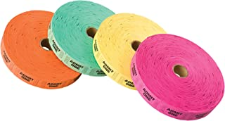 PM Company Admit One Ticket Rolls, 2000 per Roll, 4 Rolls in Assorted Colors (59002)