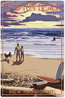 Lantern Press Hampton Beach, New Hampshire - Beach Scene and Surfers Walk at Sunset 54232 (6x9 Aluminum Wall Sign, Wall Decor Ready to Hang)