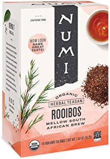 Numi Organic Tea Rooibos, Herbal Teasan Tea Bags, 18 Count, Pack of 3 (Packaging May Vary)