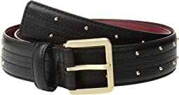Calvin Klein - 35mm Stitched Edge Strap w/ Seam and Pin Dot Stud Belt
