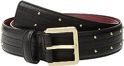 Calvin Klein - 35mm Stitched Edge Strap w/ Seam and Pin Dot Stud Belt