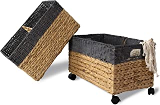 Made Terra Set 2 of Seagrass and Water Hyacinth Storage Baskets on Wheels | Straw Wire Woven Wicker Baskets for Kitchen, P...