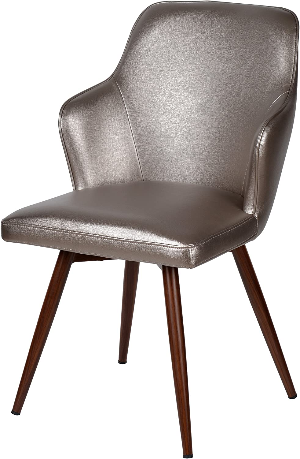 Benzara Contemporary Style Swivel Dining Chair, Silver