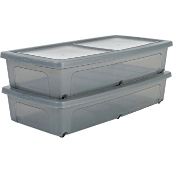 Iris Ohyama Modular Clear Box - Lote de 2 cajas de almacenamiento ...