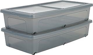 Amazon Basics 135461 Lot de 2 Boîtes de Rangement avec roulettes, Plastique, Gris Transparent, 35 L