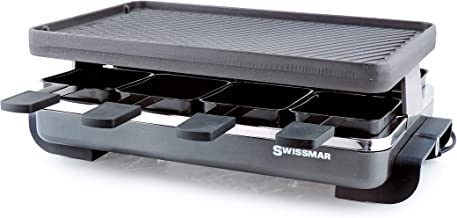 Swissmar KF-77040 Classic 8-Person Raclette Party Grill with Reversible Cast Iron Grill Plate/Crepe Top, Black