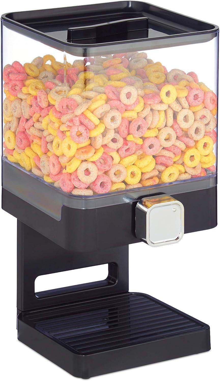 relaxdays Dispensador de Cereales, Caramelos y Frutos Secos, Bote Rectangular, Plástico, 31 x 16,5 x 18,5 cm, Negro