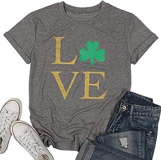 MAXIMGR T-Shirt Women Love St Patricks Day Short Sleeve O Neck Tees Tops Cute Glitter Sparkly Graphic Shamrock Top Shirt