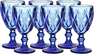 Colored Glass Drinkware 10 Ounce Water Glasses Cobalt Blue Diamond Pattern Set of 6