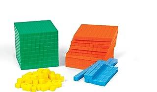 hand2mind Plastic Differentiated Base Ten Blocks, Math Manipulative Kit (Set of 121)