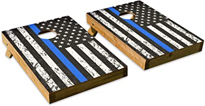 Distressed Police Blue Stripe DesignCornhole/Bean Bag Toss Board Set – Made in USA Wood - 2'x3' Tailgate Size - Includes 8 Corn-Filled Bean Bags