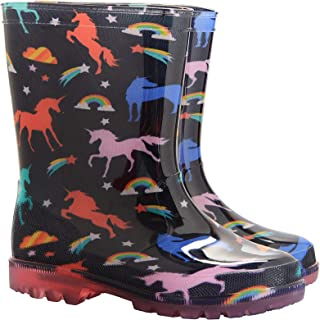 Mountain Warehouse Splash Junior Kids Flashing Lights Wellies -Durable Childrens Wellington Boots, Light Up Soles Shoes, Easy Clean Summer Walking Shoes -Ideal Rain Boots