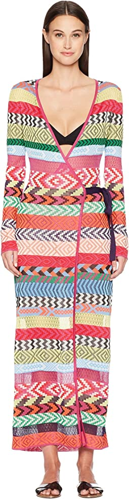 Mary Katrantzou Oceania Dress Fira Stripe Knit Cover-Up