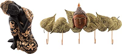 eCraftIndia Pleasing Buddha On Knee Polyresin Showpiece (16.25 cm X 12.5 cm X 22.5 cm, Red and Brown) & Buddha Head with Green Leaves Wrought Iron Key Holder (38 cm X 1 cm X 19, Red and Brown) Combo