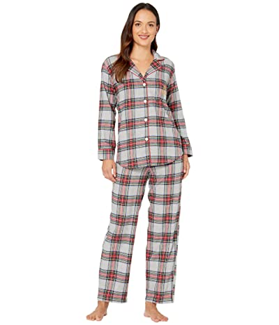 LAUREN Ralph Lauren Petite Brushed Twill Long Sleeve Notch Collar Long Pants Pajama Set (Multi Plaid) Women