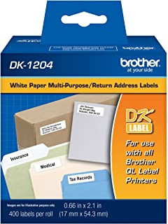 Brother Genuine DK-1204 Multipurpose Paper Label Roll, Die-Cut Paper Labels, Engineered for Excellence, 400 Labels Per Roll