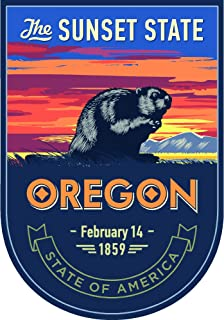 State animal Oregon night 4x5.5 inches sticker decal die cut vinyl - Made and Shipped in USA