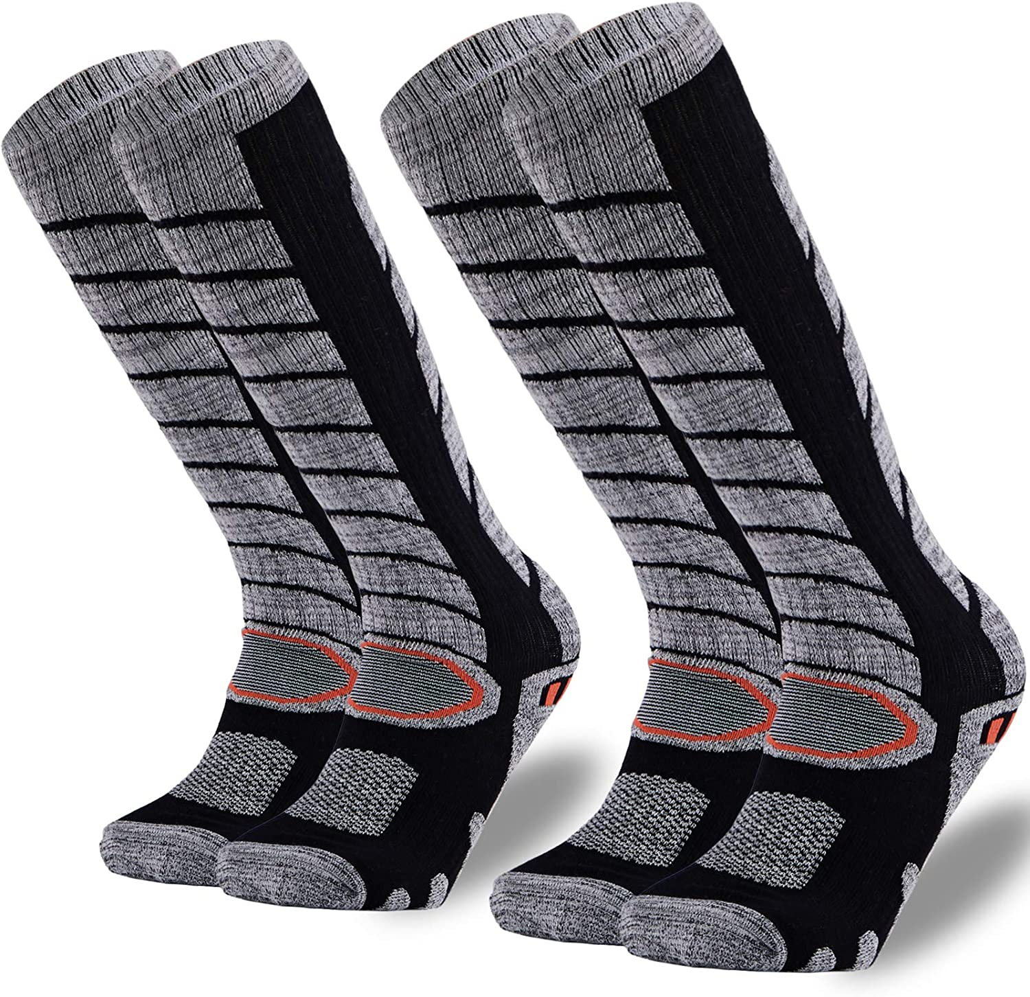 MAXTOP Ski Socks 2 Pairs Pack for Skiing, Snowboarding, Cold Weather, Winter Performance Socks