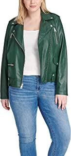 Women's Plus Size Faux Leather Contemporary Asymmetrical Motorcycle Jacket