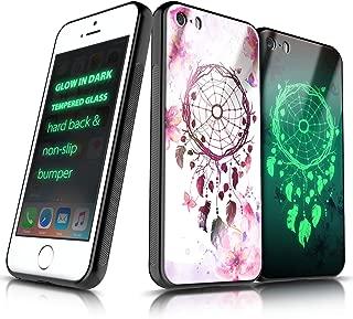iPhone 5 / 5S / SE Case, NageBee Tempered Glass Hard Back [Glow in Dark] Anti-Scratch Shock Proof Ultra Slim Non-Slip Bumper Cover Cute Case -Dream Catcher